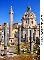 Trajan's Column (Colonna Traiana) constructed under the...