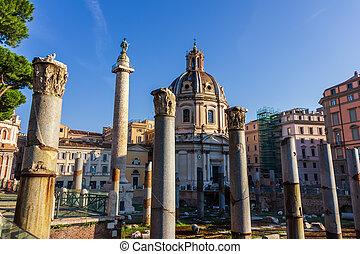 Trajan's Forum, Column and Basilica Ulpia, Rome, Italy