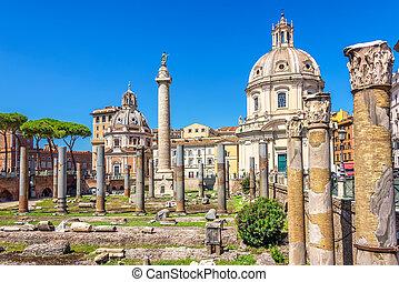 Trajan's Forum, Trajan's Column and Basilica Ulpia in Rome