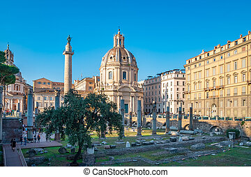 Trajan's Forum with Trajan's column and Basilica Ulpia. Rome.