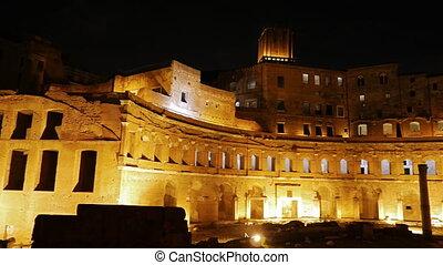 Trajan's market, Night. Roma, Italy. UltraHD (4K)