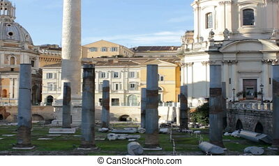 Trajan's Marketplace and Column with tilt up on a sunny afternoon in Rome, Italy. Good video on topics of architecture, traveling and history.