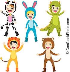 traje, animal, crianças