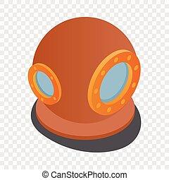 traje, buceo, isométrico, icono, casco