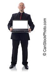 traje, con, computador portatil