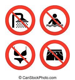 traje de baño, icons., ducha, piscina, signs., natación