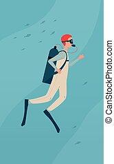 traje de baño, salto subacuático, buzo, caricatura, hombre, escafandra autónoma, -