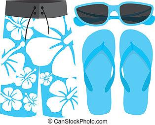 traje de baño, sandalias, gafas de sol