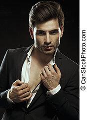 Traje, elegante, elegante, retrato, hombre, guapo