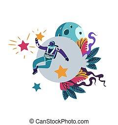 traje espacial, llevando, astronauta, flotación en espacio,...