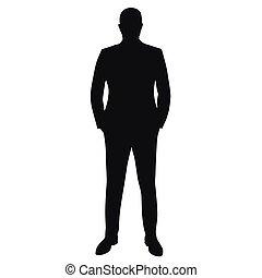 traje, hombre de negocios, vector, silueta, aislado