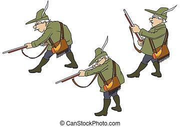 traje, illustration., gun., auténtico, cazador, acción