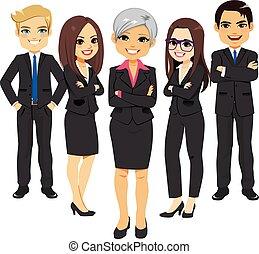 traje, negro, equipo negocio