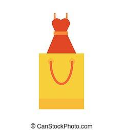 traje, papel, hembra, bolso de compras