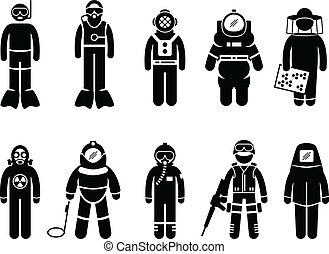 traje, ropa protectora, engranaje, uniforme