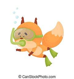traje, snorkeling, llevando, ilustración, vector, salto subacuático, zorro