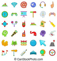 Trajectory icons set, cartoon style - Trajectory icons set....