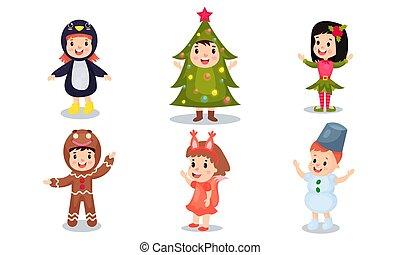 trajes, celebração, ou, bebê, natal, ventilador, vetorial, caricatura, jogo, ano, seis, ilustrações, desgastar, novo, crianças, véspera, caráteres
