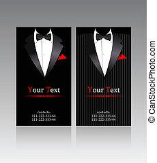 trajes, vector, tarjetas comerciales