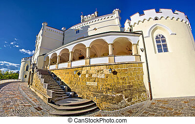 Trakoscan monumental castle panoramic view in Zagorje, Croatia