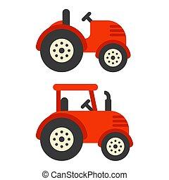traktor, ábra, piros
