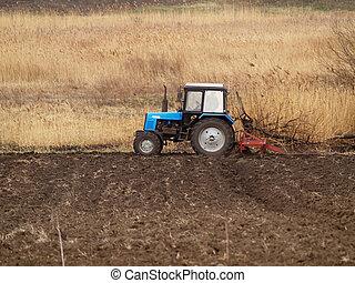 traktor, alatt, egy, mező