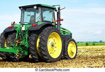 traktor, alatt, mező