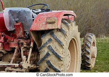 traktor, auf, a, feld