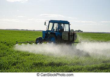traktor, befrukta, fält, insektsmedel, och, insekticid