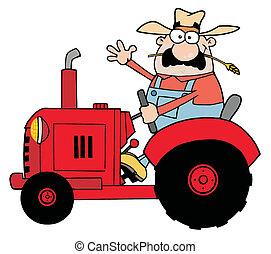 traktor, bonde, lycklig, röd