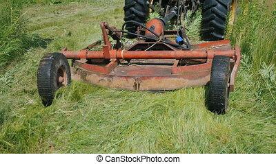 traktor, ciągnie, jednostka, trawa, kośba