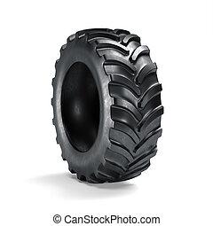 traktor, däck, isolerat