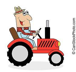 traktor, farmer, gördülni, hím