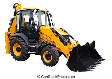 traktor, gul