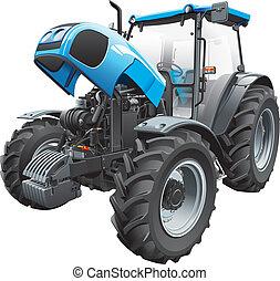 traktor, hos, åben hætte