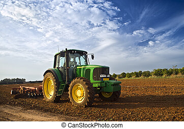 traktor, in, a, fält