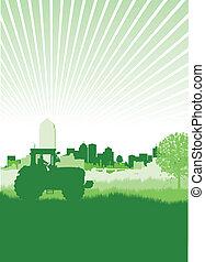 traktor, in, a, feld