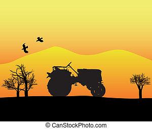 traktor, in, den, bakgrund, av, träd, och, mountains