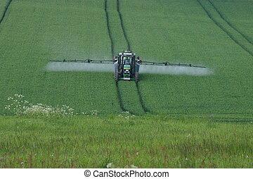 traktor, képben látható, egy, mező
