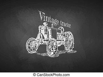 traktor, képben látható, tábla