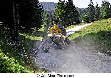 traktor, megrakott