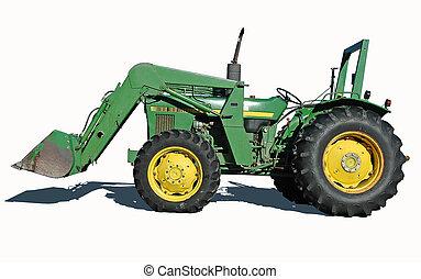 traktor, mit, wischeimer