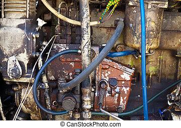 traktor, motor, gammal