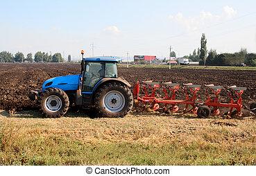 traktor, noha, szántás
