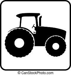 traktor, silhuett, ikon