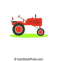 traktor, szüret, icon., háttér., tanya, white piros