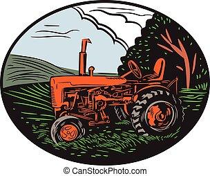 traktor, szüret, tanya, fametszet