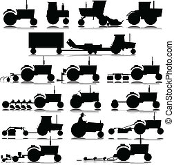 traktor, vektor, silhouettes