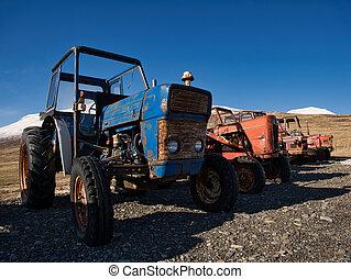 traktorer, årgång, olik, flera, märken