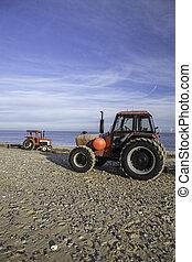 traktorer, strand, röd